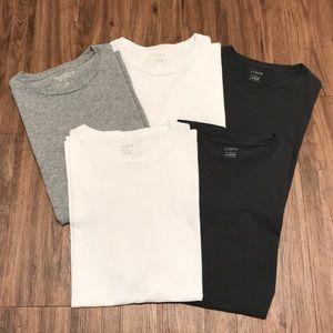 Lot of 5 J. Crew plain T-shirts